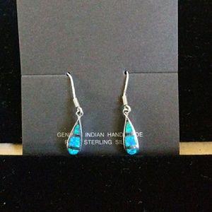 Sterling Silver & Blue Opal Earrings